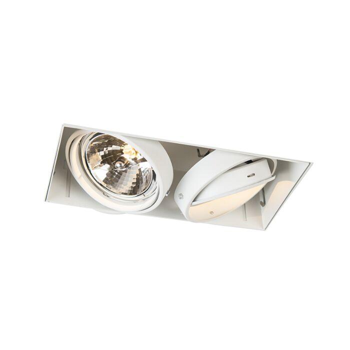 Foco-empotrado-blanco-orientable-2-luces-sin-molduras---ONEON-111-2-Trimless