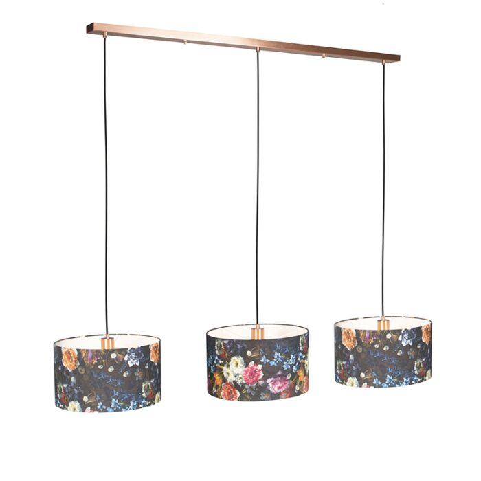 Lámpara-colgante-COMBI-3-cobre-con-pantallas-35cm-flora