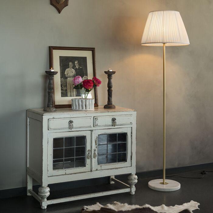 Lámpara-de-pie-retro-latón-pantalla-plisada-crema-45cm---KASO