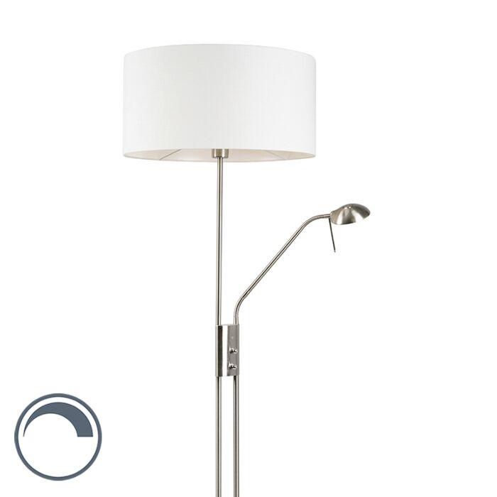 Lámpara-de-pie-acero-pantalla-blanca-brazo-lectura---LUXOR