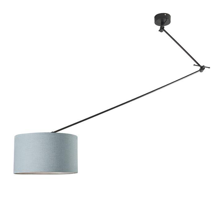 Lámpara-colgante-negra-pantalla-35-cm-azul-claro-ajustable---BLITZ-I