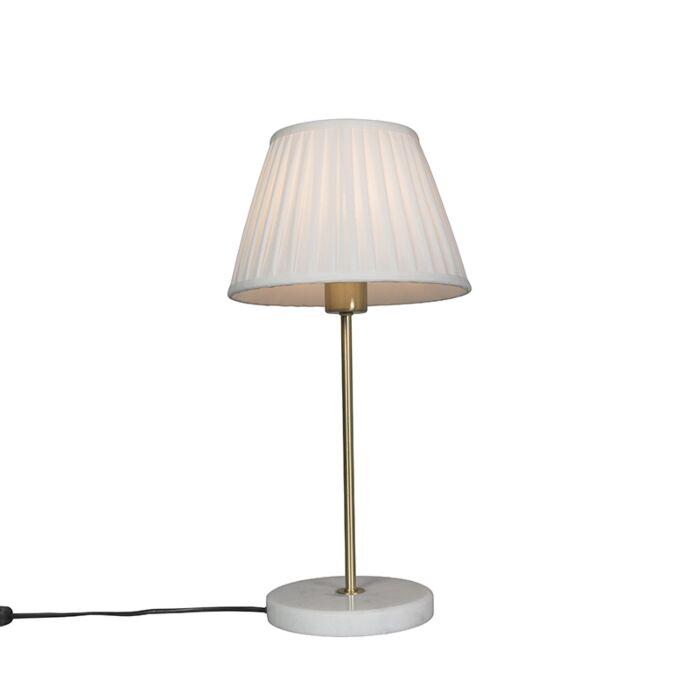 Lámpara-de-mesa-retro-latón-pantalla-plisada-crema-25cm---KASO