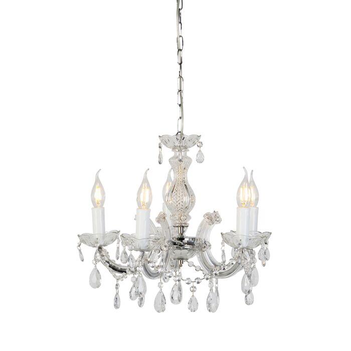 Lámpara-de-araña-transparente-cromo-5-luces---MARIE-Theresa