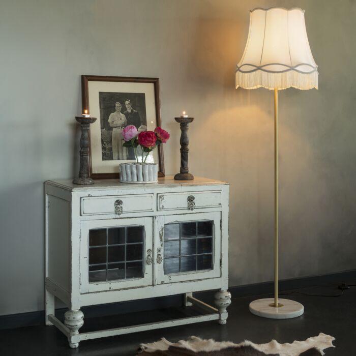 Lámpara-de-pie-retro-latón-pantalla-GRANNY-crema-45cm---KASO
