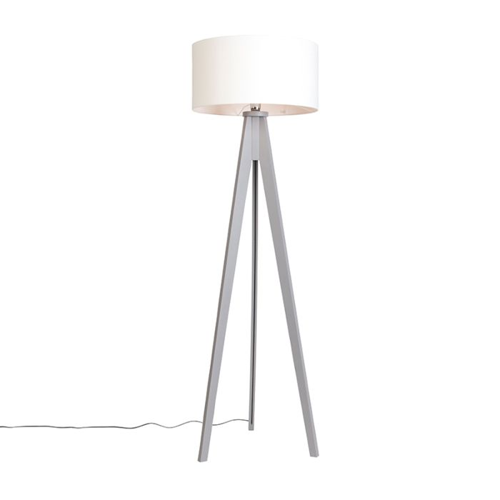 Lámpara-de-pie-TRIPOD-Classic-gris-con-pantalla-50cm-blanco-roto