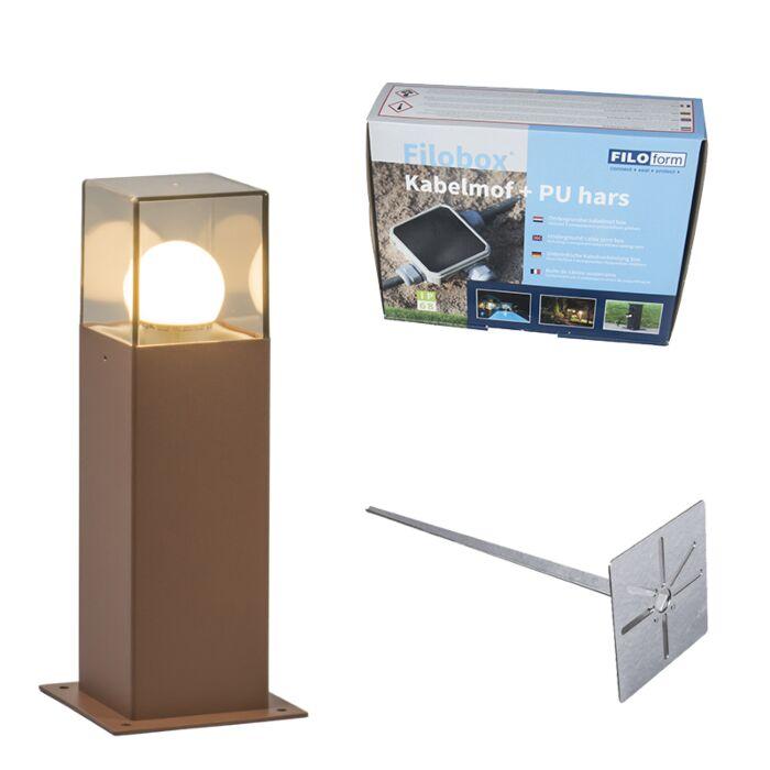 Baliza-30cm-óxido-pin-tierra-y-kit-conexión-subterránea---DENMARK