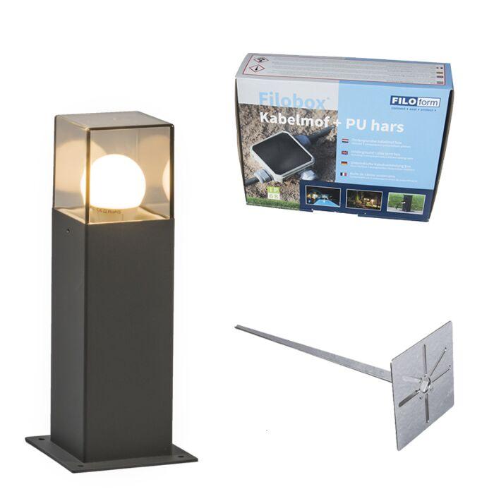 Baliza-30cm-carbon-pin-tierra-y-kit-conexión-subterránea---DENMARK