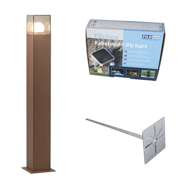 Baliza-70cm-óxido-estaca-y-kit-conexión-subterránea---DENMARK