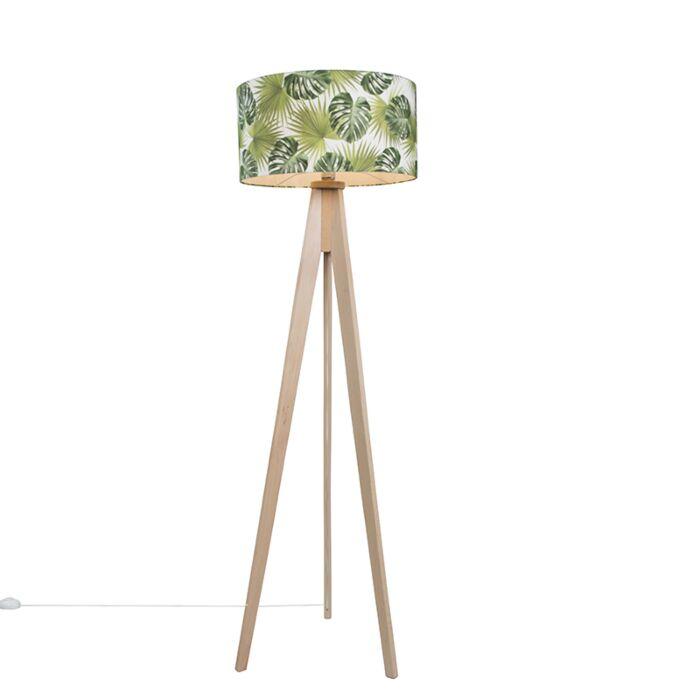 Lámpara-de-pie-TRIPOD-Classic-blanca-gastada-con-pantalla-50cm-hojas
