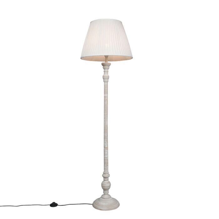 Lámpara-de-pie-rústica-gris-pantalla-plisada-blanca---CLASSICO
