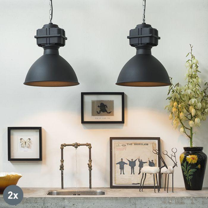 Set-2-lámparas-colgantes-industriales-pequeñas-negro-mate---SICKO