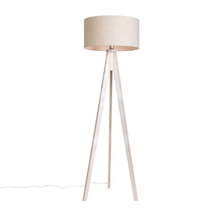 Lámpara-de-pie-TRIPOD-Classic-blanco-con-pantalla-50cm-color-pimienta