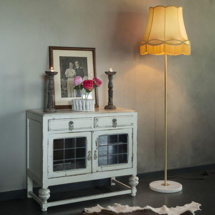 Lámpara-de-pie-retro-latón-pantalla-GRANNY-oro-45-cm---KASO