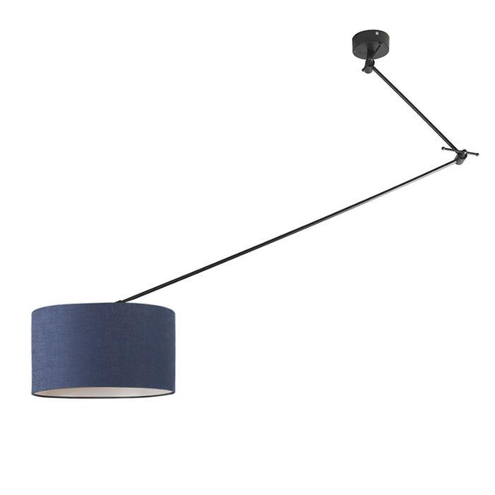 Lámpara-colgante-negra-descentrada-con-pantalla-35-cm-azul-ajustable---BLITZ-I