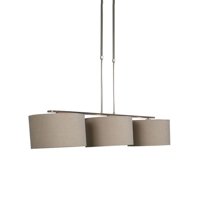 Lámpara-colgante-moderna-acero-pantallas-beige---COMBI-3-Deluxe