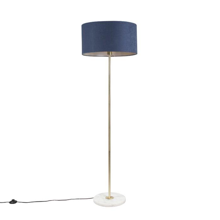 Lámpara-de-pie-latón-pantalla-azul-50cm---KASO