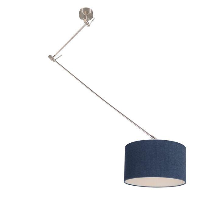 Lámpara-colgante-acero-descentrada-pantalla-35cm-azul---BLITZ-I
