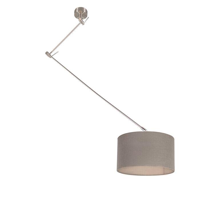Lámpara-colgante-acero-descentrada-pantalla-gris-envejecido-35cm---BLITZ-I