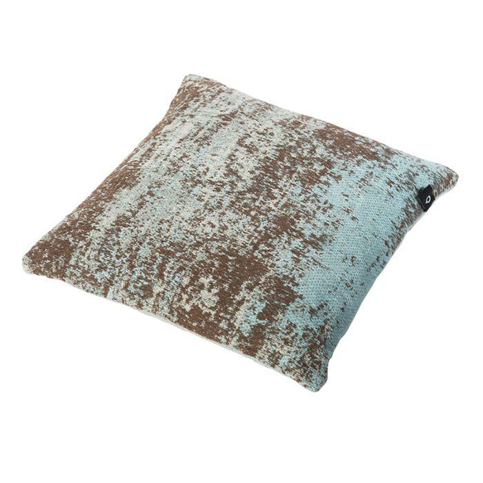Cojín-vintage-cuadrado-turquesa/marrón-45-x-45cm---KOCHI