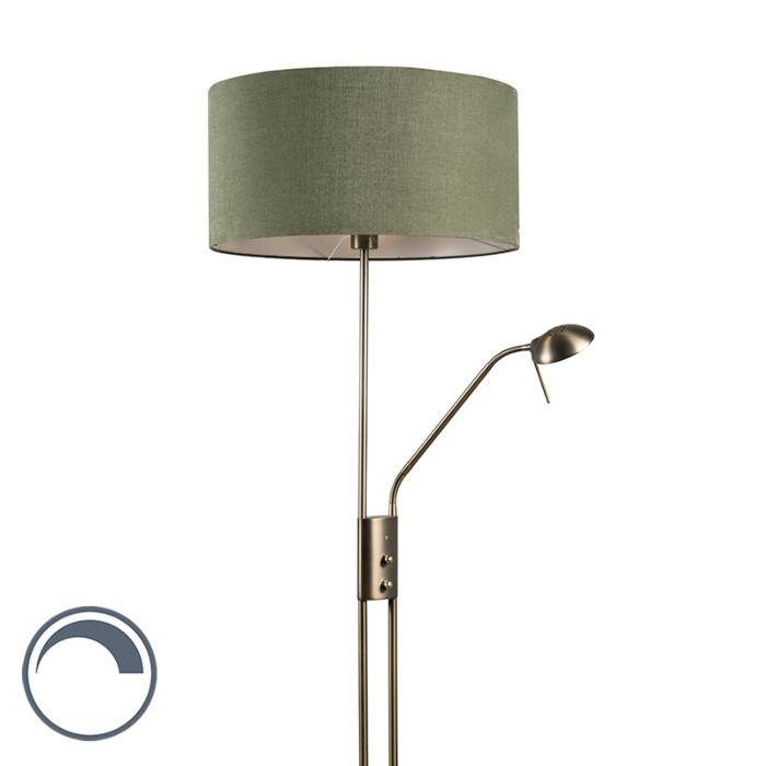 Lámpara-de-pie-LUXOR-bronce-50cm-verde-musgo