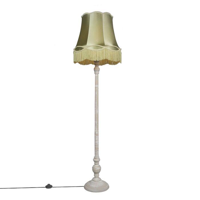 Lámpara-de-pie-retro-gris-pantalla-GRANNY-verde---CLASSICO