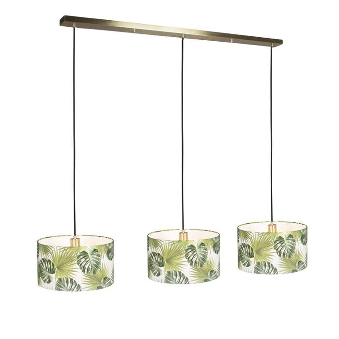 Lámpara-colgante-COMBI-3-oro-con-pantallas-35cm-hojas