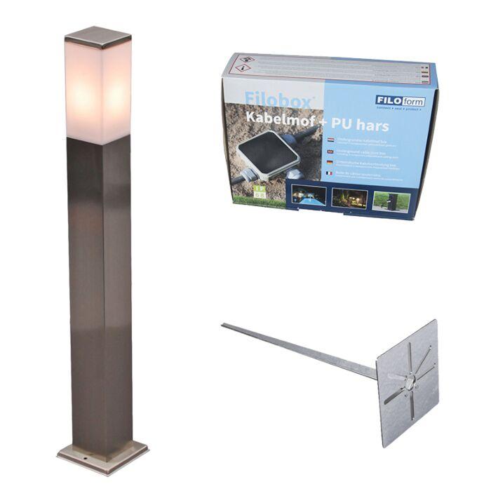 Baliza-acero-80cm-IP44-estaca-y-kit-conexión-subterráneo---MALIOS-P80
