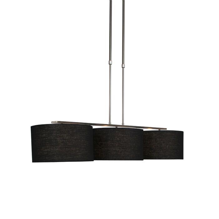 Lámpara-colgante-moderna-de-acero-con-pantalla-de-35-cm-negro---Combi-3-Deluxe