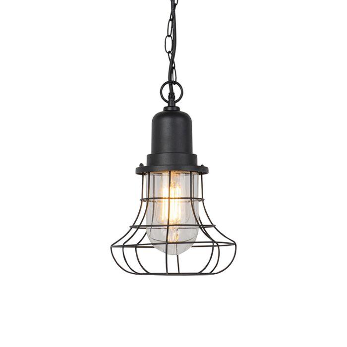 Lámpara-colgante-rústica-negra-IP44---MORENO
