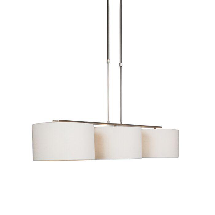 Lámpara-colgante-moderna-acero-pantalla-blanca---COMBI-3-Deluxe