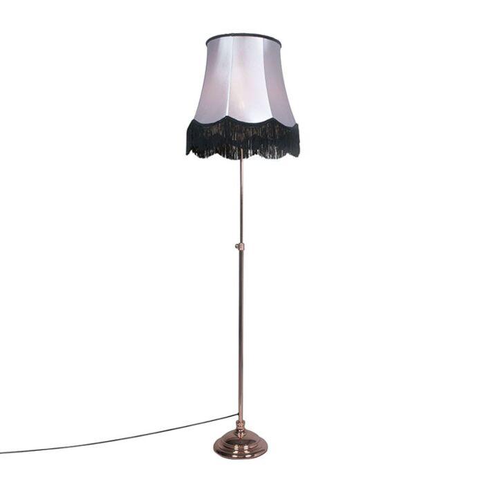 Lámpara-de-pie-ACCIA-cobre-con-pantalla-GRANNY-B-50cm-negra-con-gris