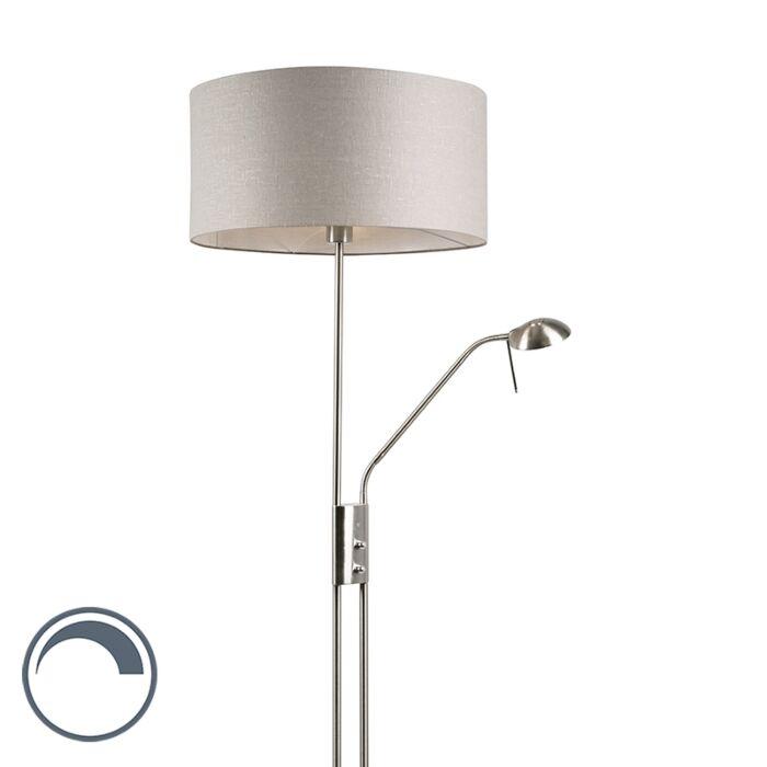 Lámpara-de-pie-acero-pantalla-gris-flexo---LUXOR