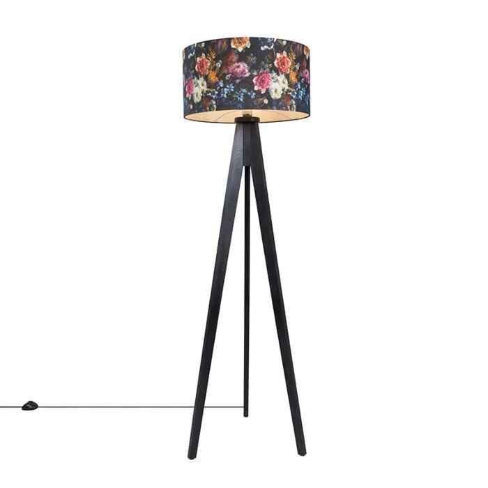 Lámpara-de-pie-TRIPOD-Classic-negra-con-pantalla-50cm-flora
