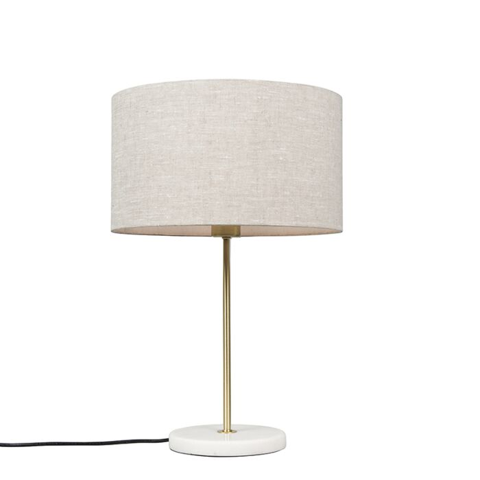 Lámpara-de-mesa-latón-pantalla-gris-35cm---KASO