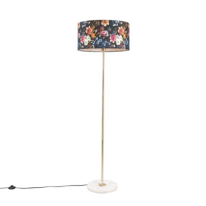 Lámpara-de-pie-latón-pantalla-flores-50cm---KASO