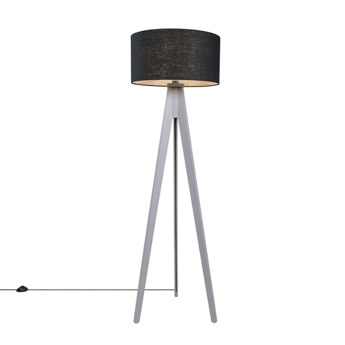 Lámpara-de-pie-TRIPOD-Classic-gris-con-pantalla-50cm-negra