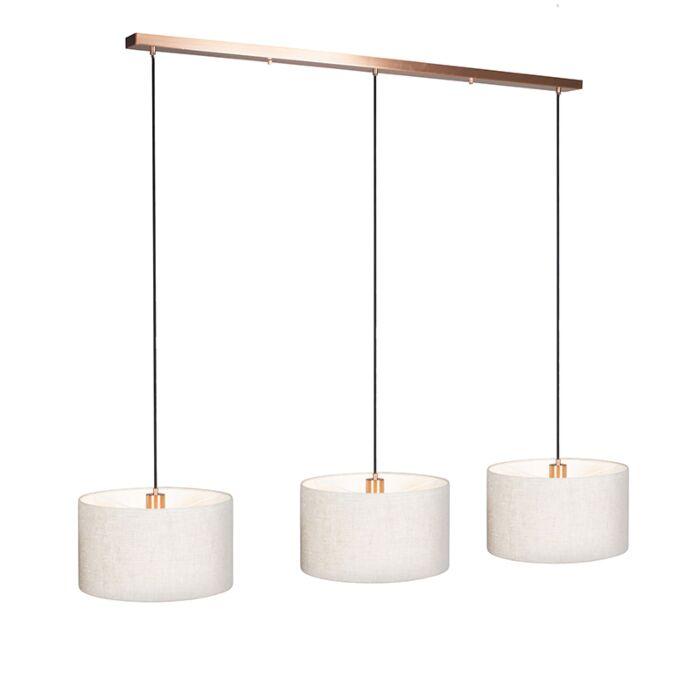 Lámpara-colgante-COMBI-3-cobre-con-pantallas-35cm-pimienta