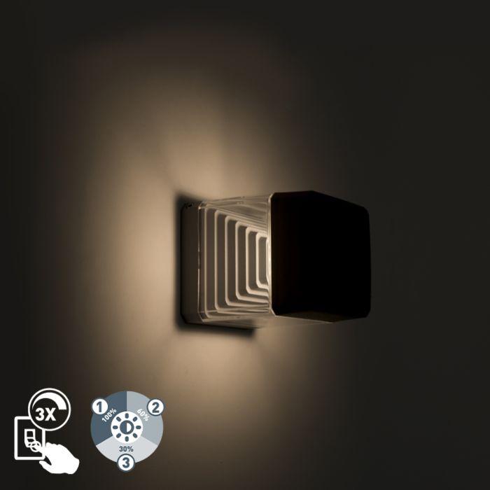 Aplique-cuadrado-moderno-gris-1xGX53-regulable-3-estados-IP55---ESTER