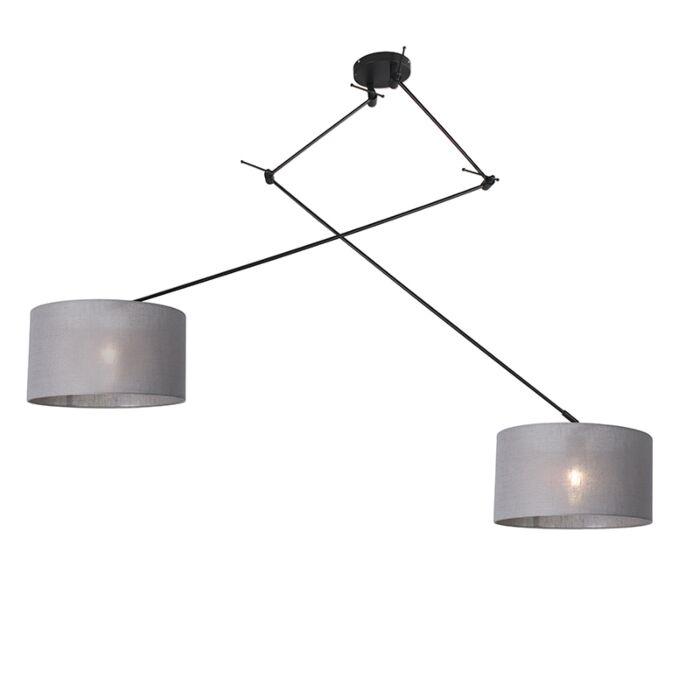 Lámpara-colgante-negra-pantalla-35cm-gris-ajustable---BLITZ-II