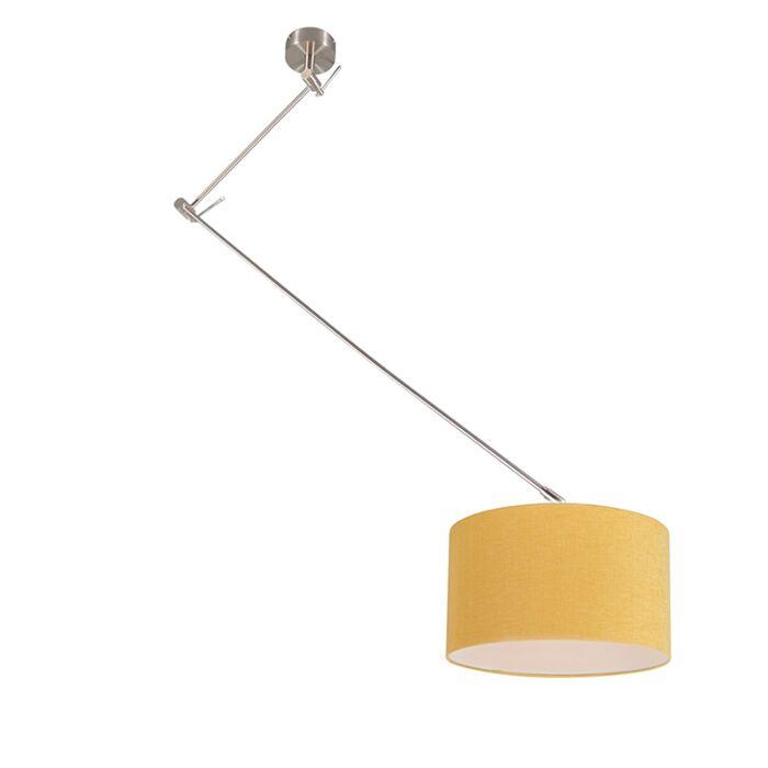 Lámpara-colgante-acero-descentrada-pantalla-amarillo-35cm---BLITZ-I