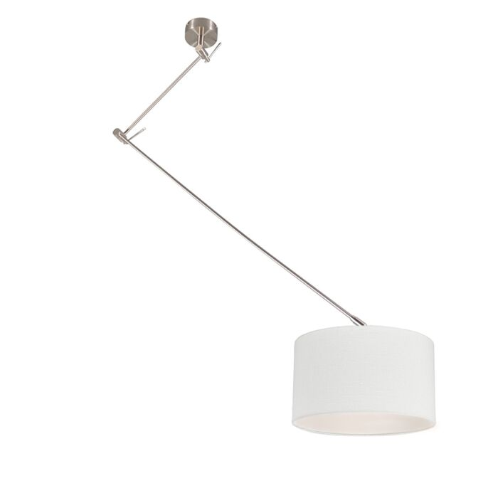 Lámpara-colgante-acero-descentrada-pantalla-blanco-35cm---BLITZ-I