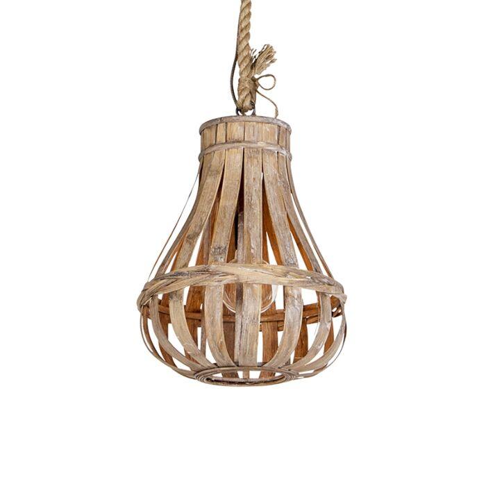 Lámpara-colgante-rústica-madera-con-cuerda-34cm---EXCALIBUR