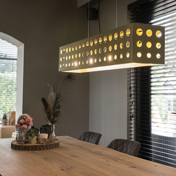 Lámpara-colgante-vintage-dorada-4-luces---CAGE-70s