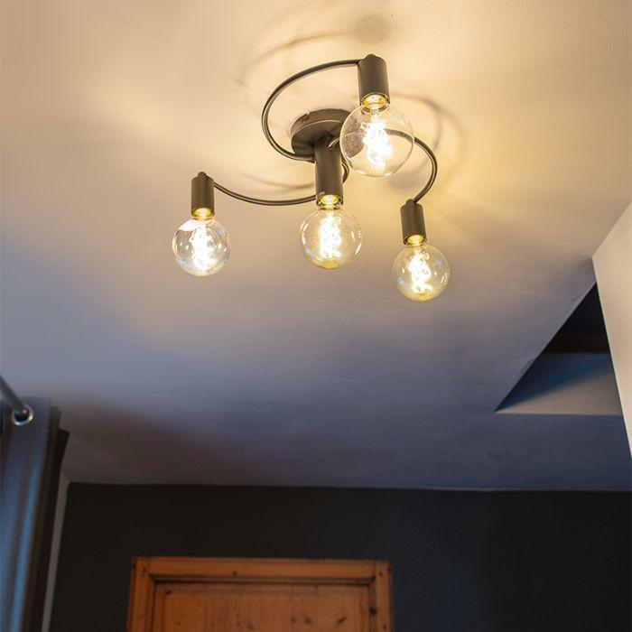 Plafón-Art-Deco-negro-4-luces---FACIL
