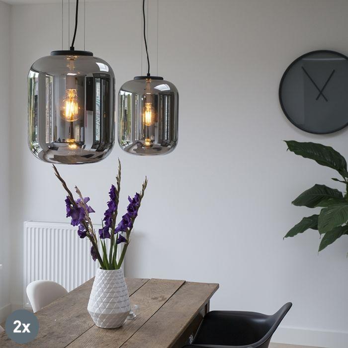 Set-de-2-lámparas-colgantes-diseño-negro-cristal-ahumado---BLISS