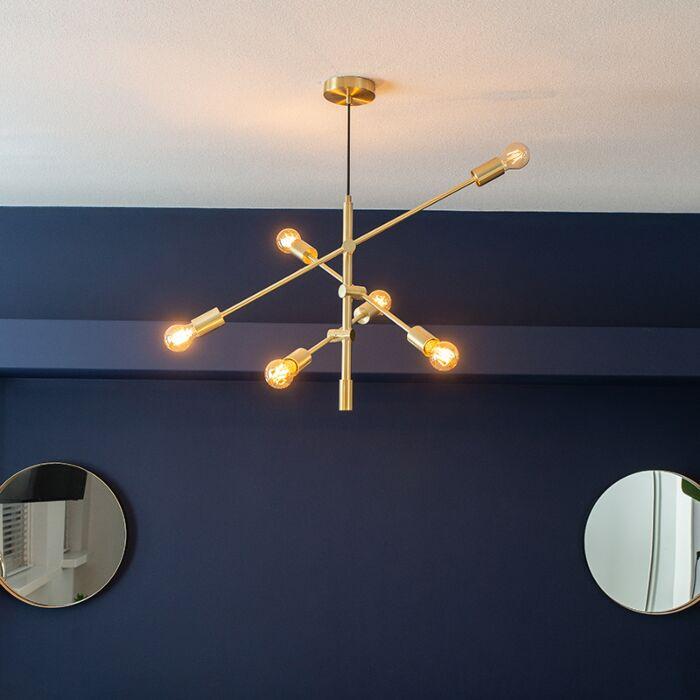 Lámpara-colgante-Art-Deco-latón-mate-6-luces---SYDNEY