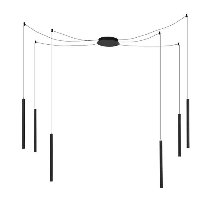 Lámpara-colgante-moderna-negra-6-luces-LED---RAGNO