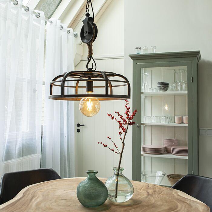 Lámpara-colgante-industrial-acero-negro---CAMELOT