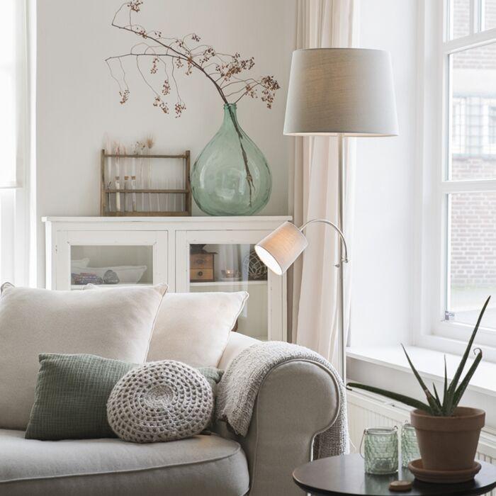 Lámpara-de-pie-clásica-acero-pantalla-gris-flexo---RETRO