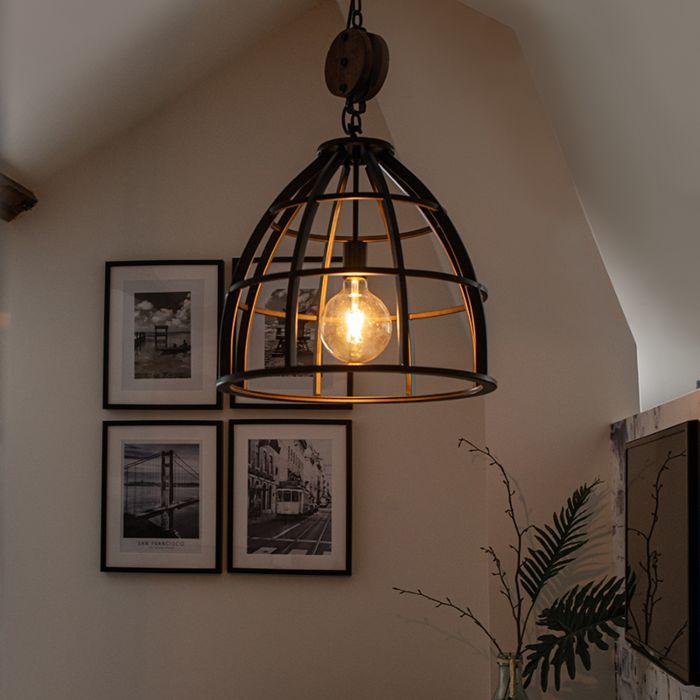 Lámpara-colgante-industrial-redonda-acero-negro-48cm---ARTHUR